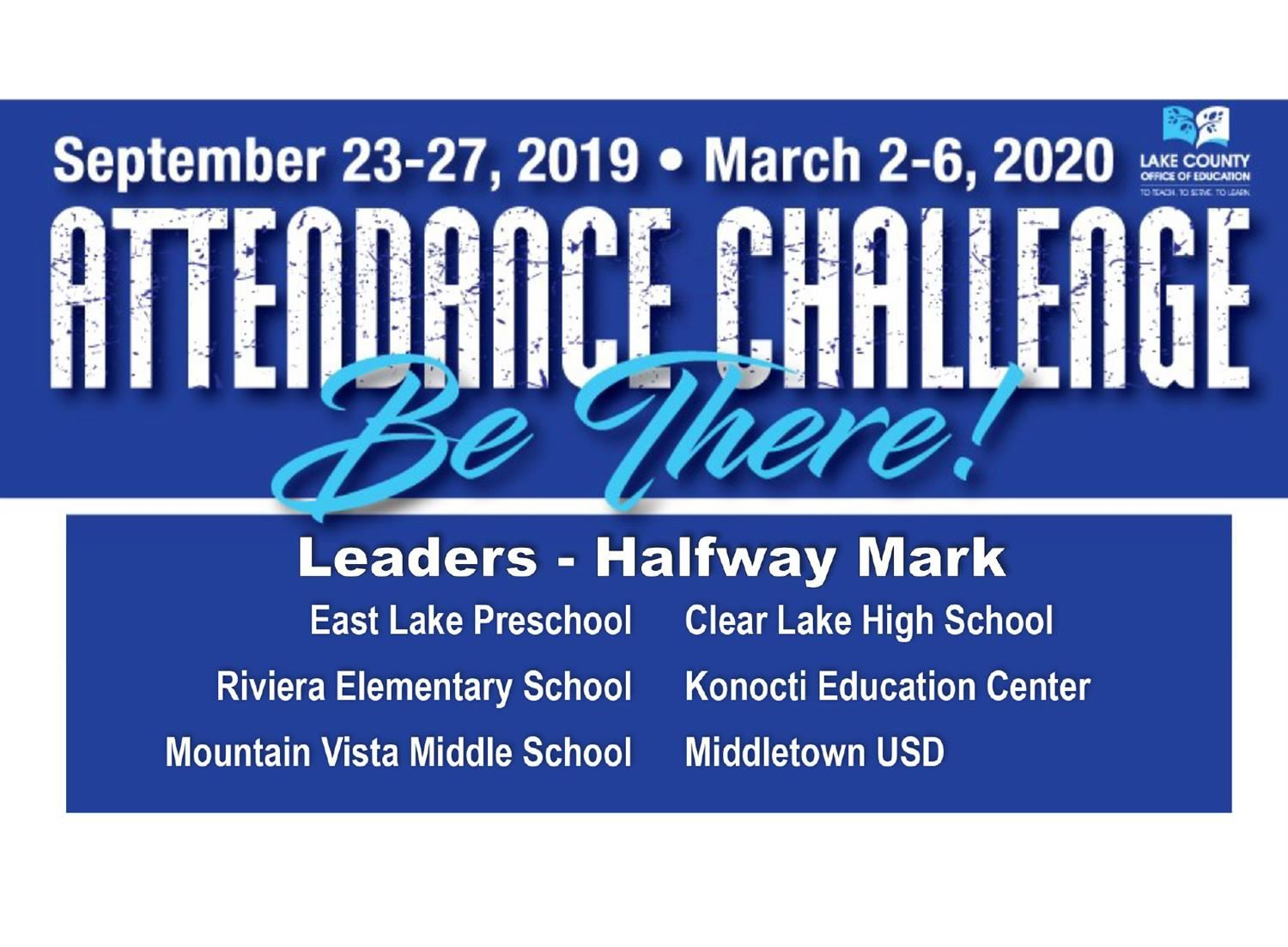 Attendance Challenge Blue Logo with list of winners